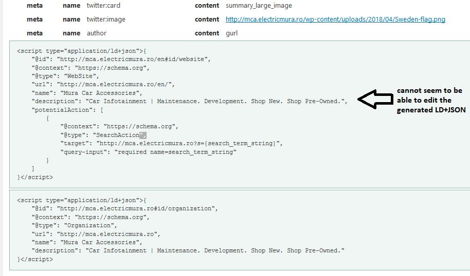 Can we edit JSON schema data ? | WordPress org