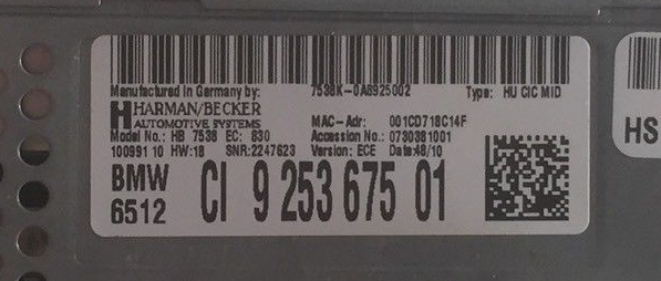 CIC MID iDrive navigation label
