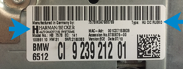 CIC iDrive navigation label