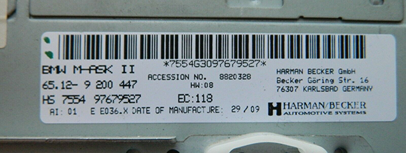 BMW M-ASKII iDrive - unit label