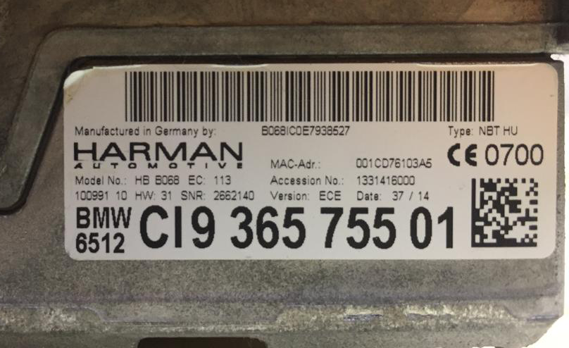 BMW NBT iDrive label